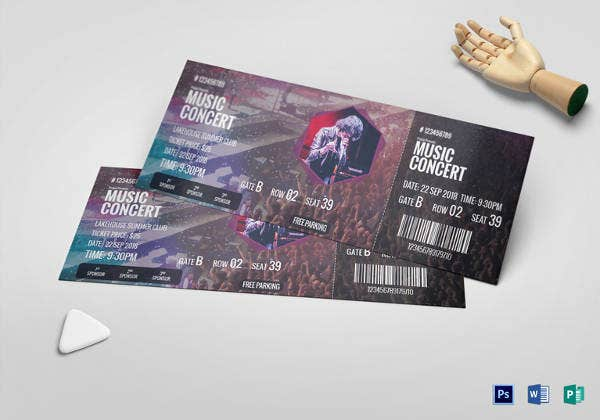 editable music concert ticket
