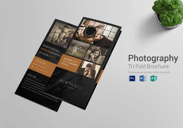 editable photography tri fold brochure template