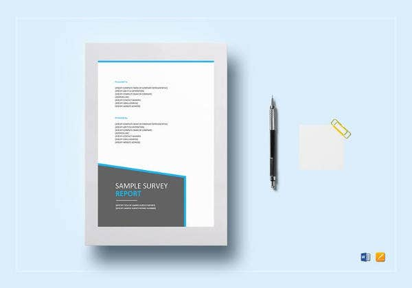 editable survey report template design