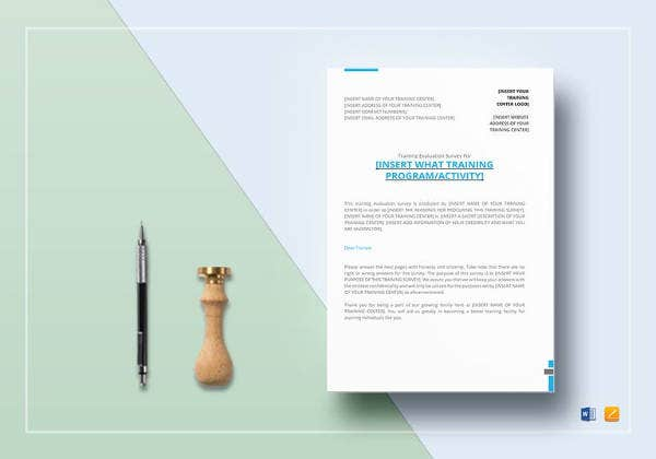 editable training survey template design