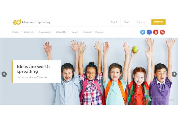 education elementary high school wordpress theme