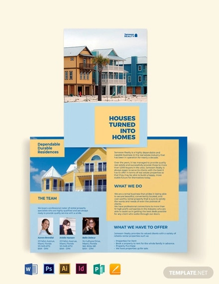 family vacation rental bi fold brochure template
