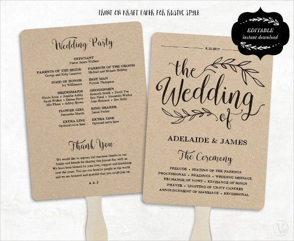 fan model wedding program template download1