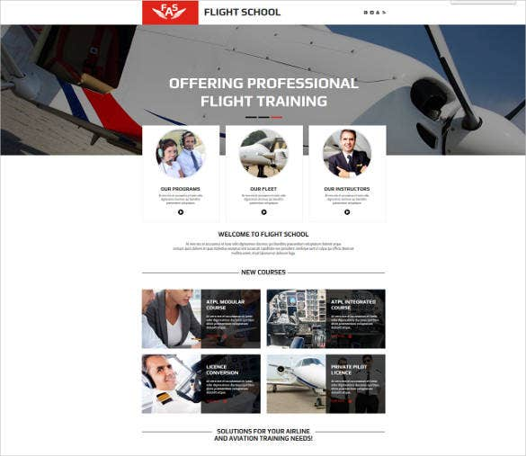 flight school html html website