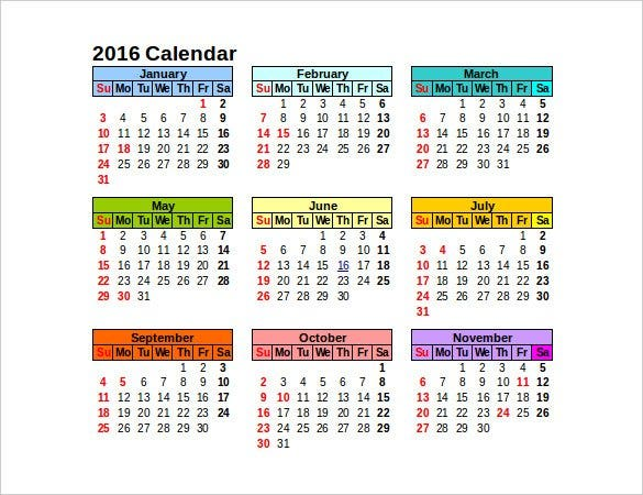 2016 calendar template 46 free word pdf psd eps ai for Day at a glance calendar template