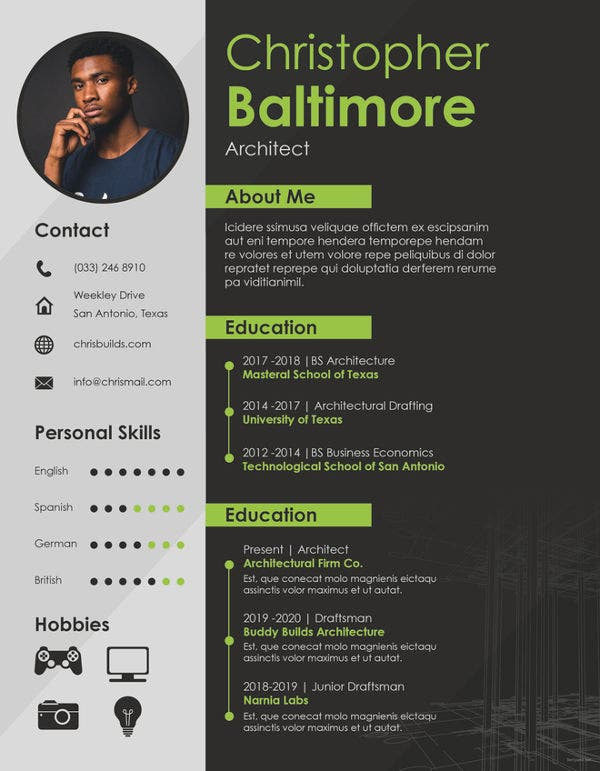 Architect Resume Template   Free Word Pdf Documents Download