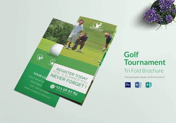 golf tournament tri fold brochure