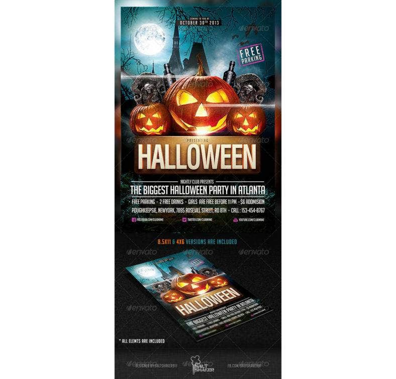 halloween party flyer template 788x755