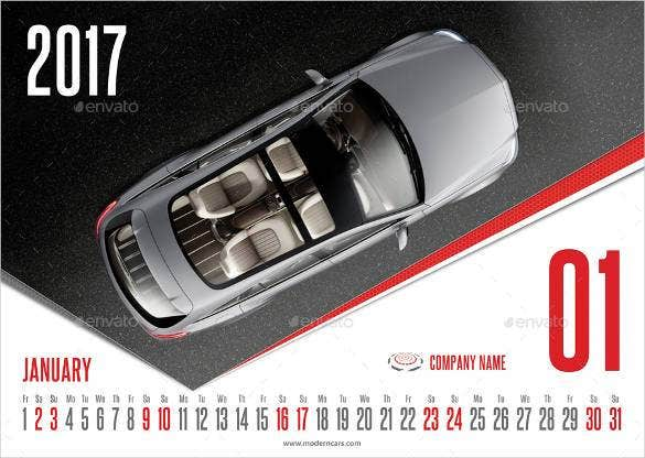 modern cars calendar 2017 template psd design down