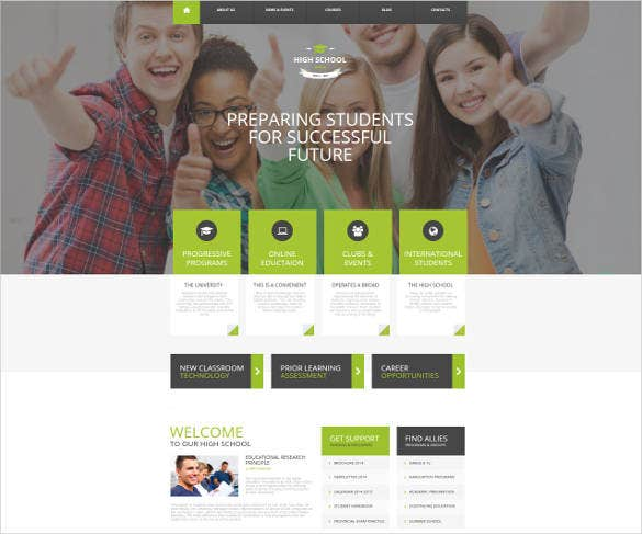 new high school website template