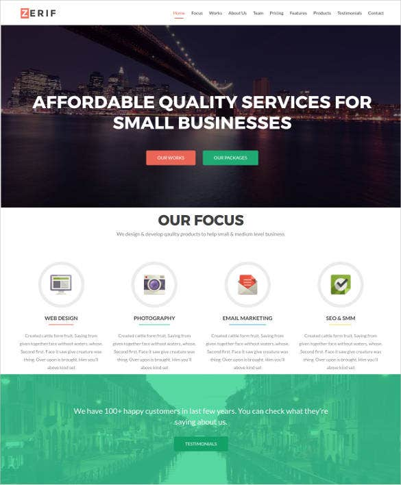 one page business html bootstrap theme