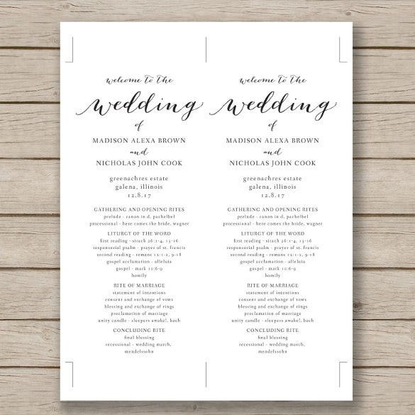 free downloadable wedding program template that can be printed - wedding program template 64 free word pdf psd