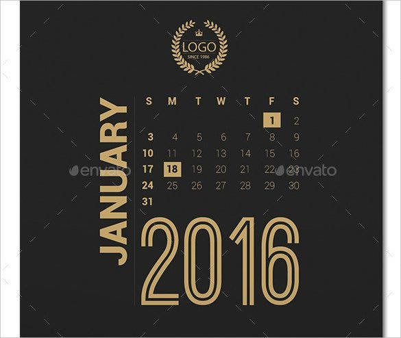 printable calendar 2016 template ai illustrator fo