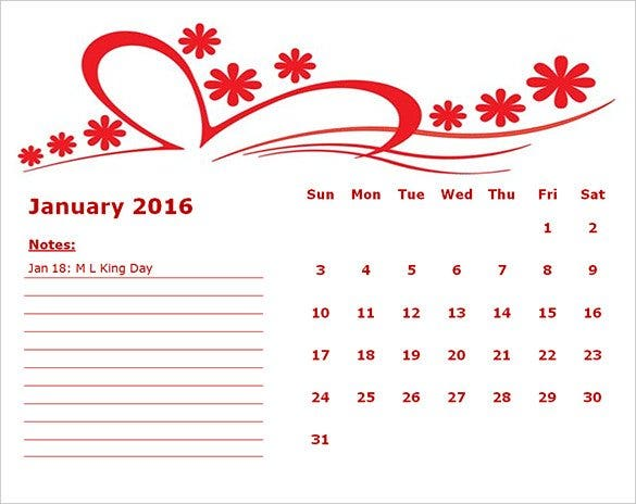 printanble 2016 red flower monthly calendar templa