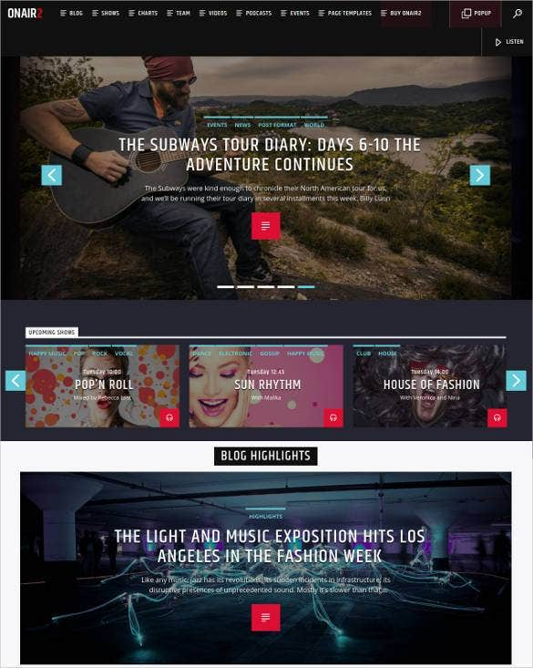 radio station blog wordpress theme1