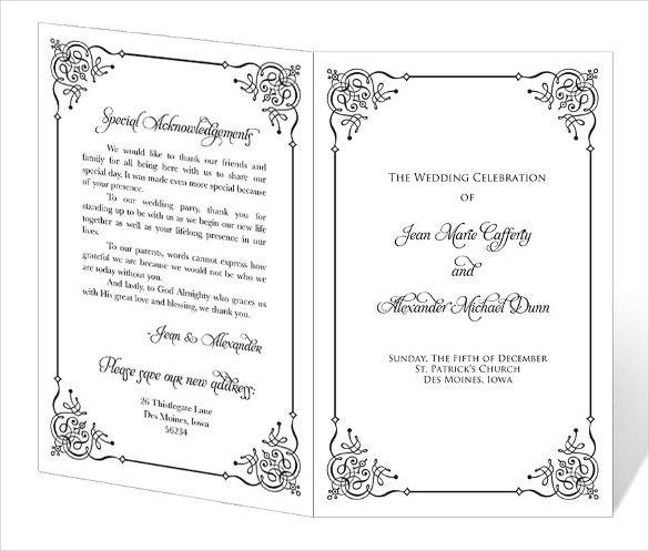 Great Wedding Program Template   61+ Free Word, Pdf, Psd Documents
