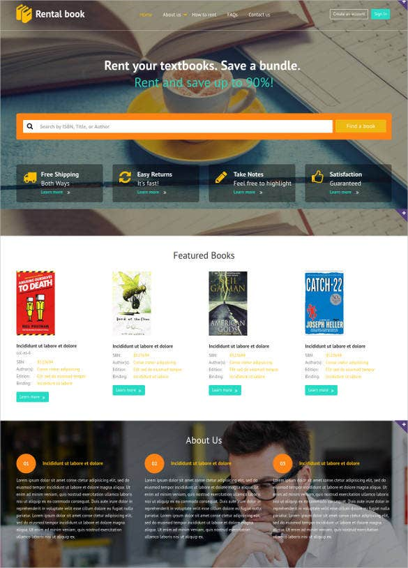 rental book store website template1