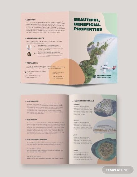 resort vacation rental bi fold brochure template