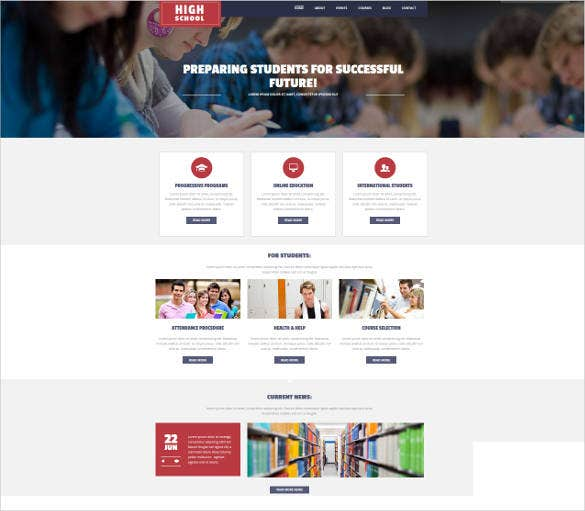 responsive school website theme
