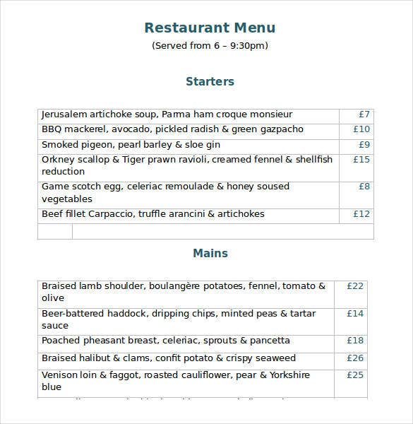restaurant menu template word free download