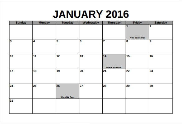 simple 2016 calendar template pdf format printable1