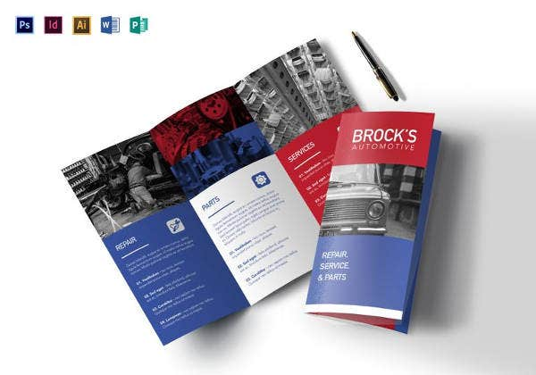 simple automotive tri fold brochure template