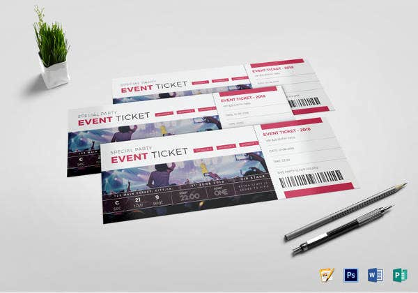 special party event ticket template in psd