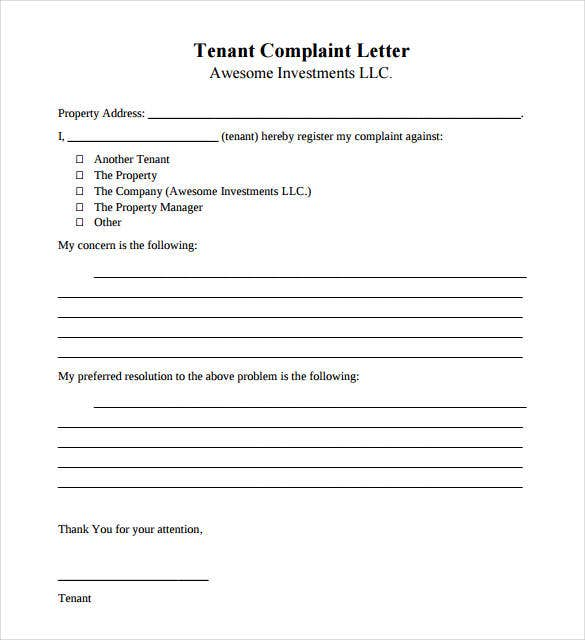 tenant complaint letter template free download2