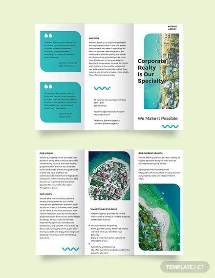 vacation rental advertising tri fold brochure template