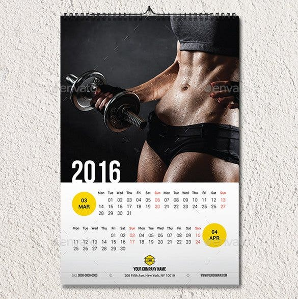 wall calendar 2016 template eps editable format1