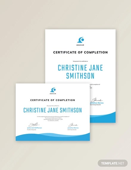 swimming certificate of completion