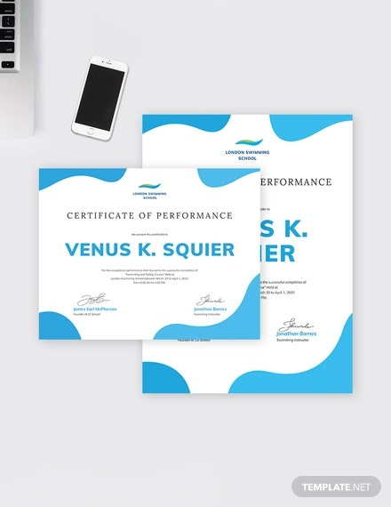 swimming certificate of performance
