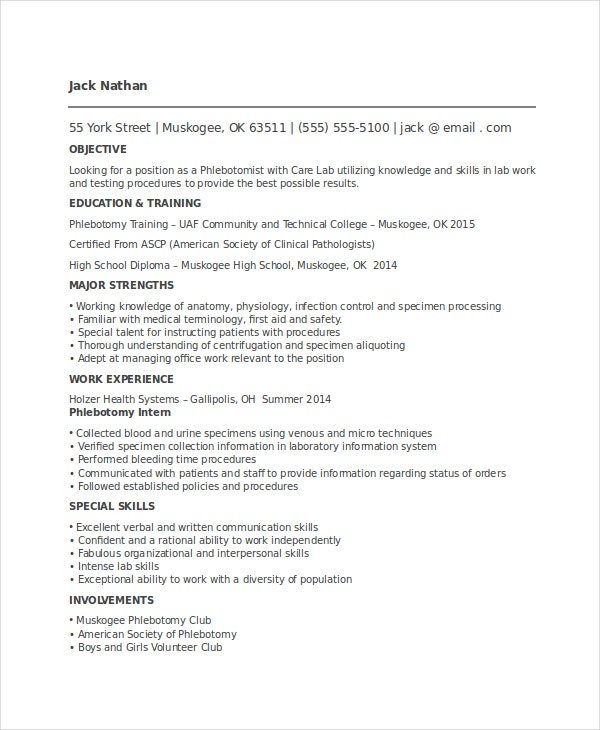 Entry Level Phlebotomy Resume Template