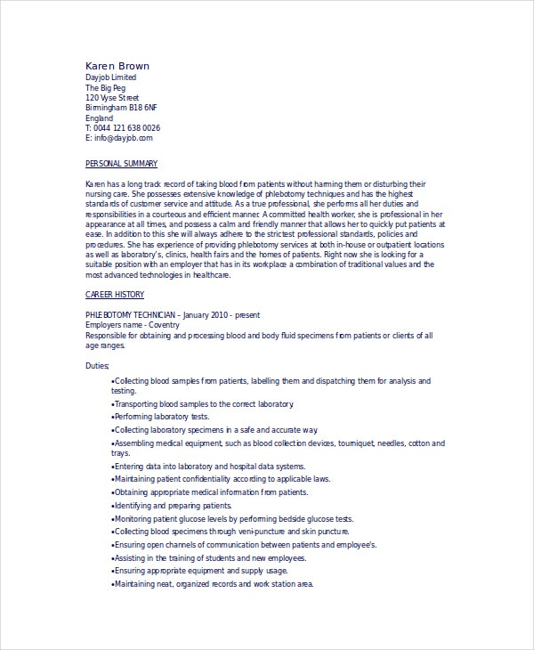 Phlebotomy Resume Template - 6+ Free Word, Pdf Documents Download