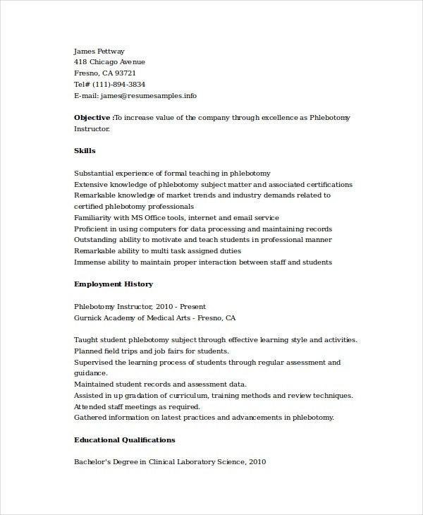 Phlebotomy Instructor Resume  Phlebotomist Duties Resume