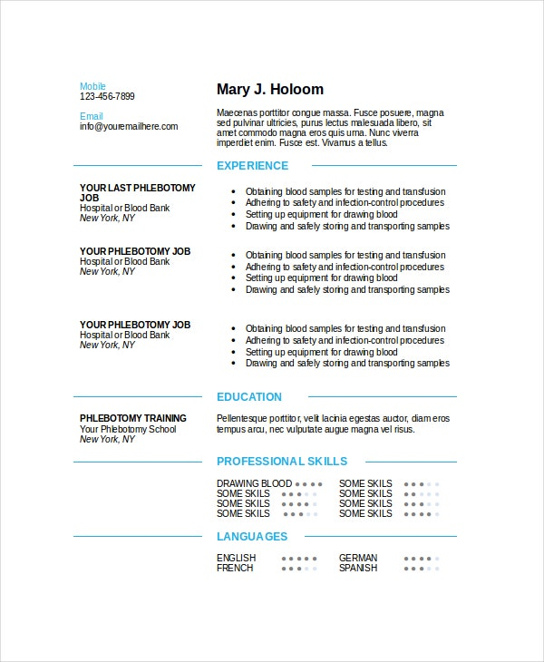 Awesome Modern Blue Phlebotomy Resume Template Ideas Phlebotomist Duties Resume