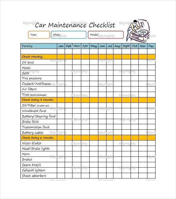 Maintenance Checklist Template – 12+ Free Word, Excel, PDF ...