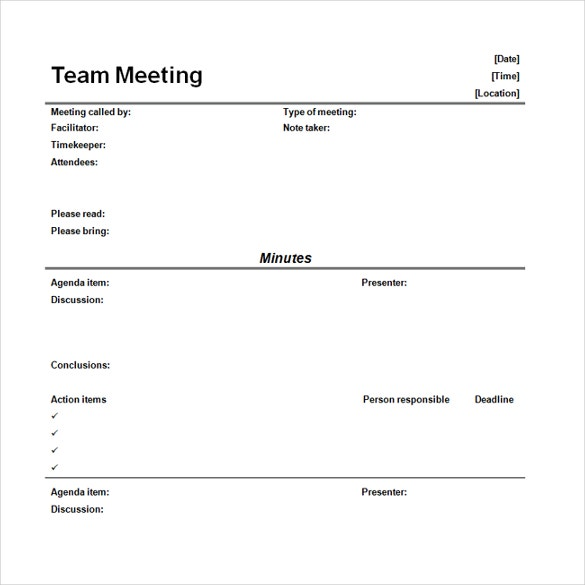 team meeting minutes free download word format template
