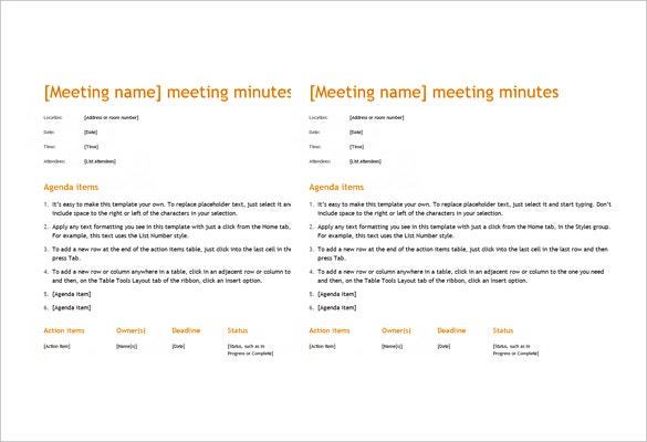 ms word orange design meeting minutes template