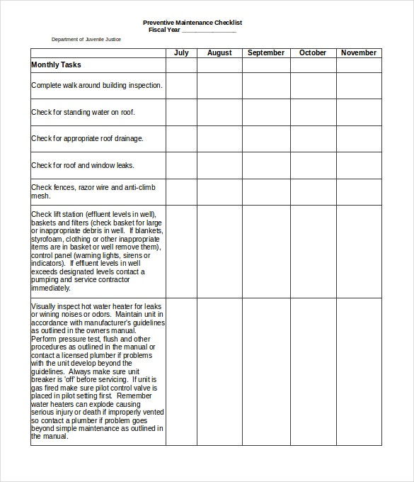 preventive maintenance checklist excel format template download