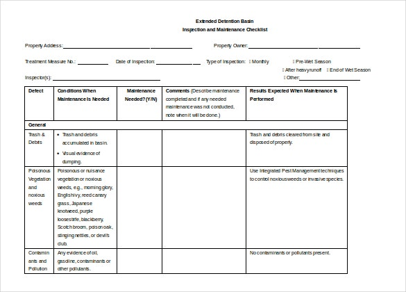 maintenance checklist doc format template download