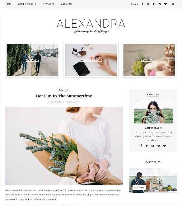 instagram beauty wordpress blog template 29
