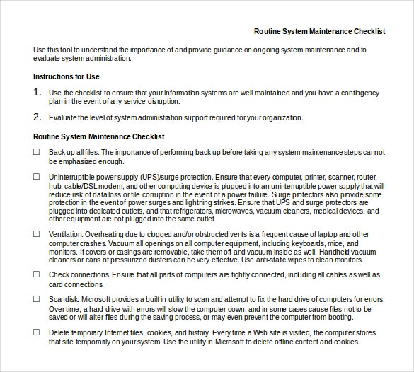 routine system maintenance checklist doc format template download