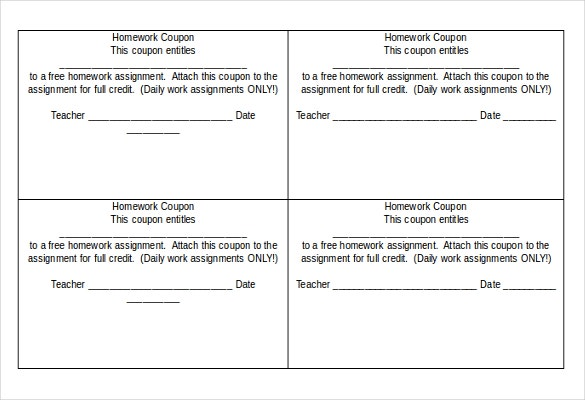 homework coupon template download in word document