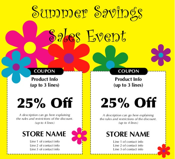 summer savings coupon template pdf