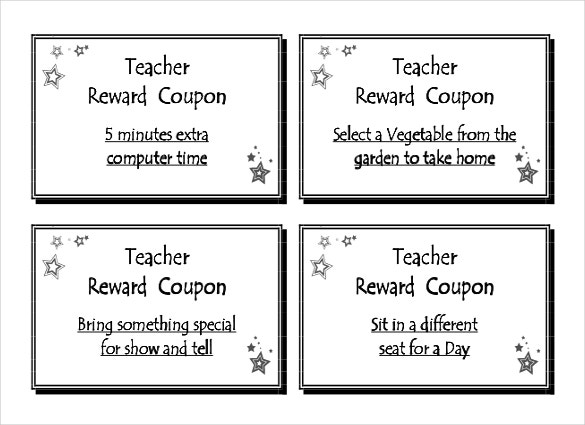 Superb Teacher Reward Coupon Template Download In PDF Format And Coupon Word Template