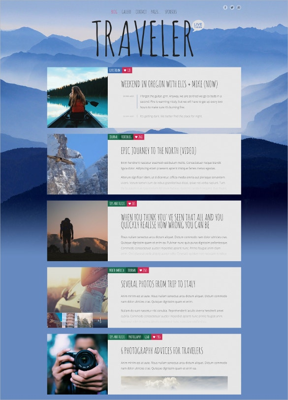 multipurpose travel blog template