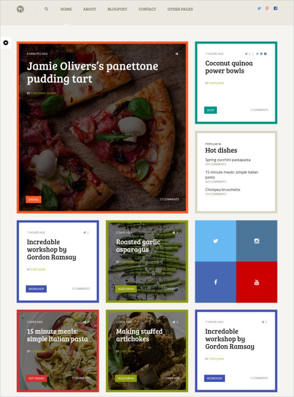 cooking recipe blog template
