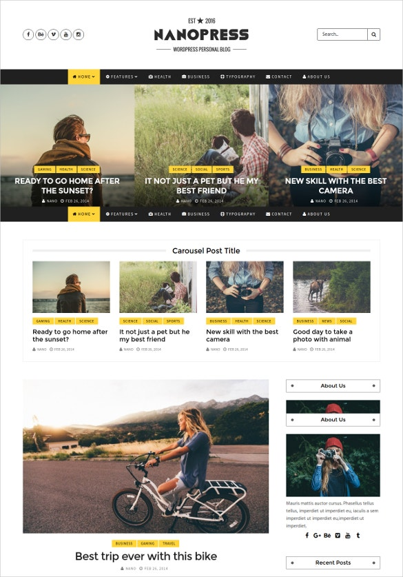 responsive personal blog template