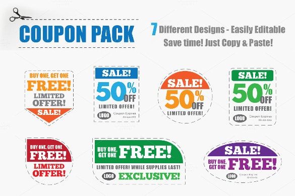 seven different easily editable coupon pack templates